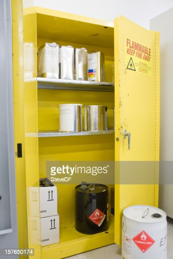 Hazardous Chemicals storage Locker with various Containers Inside