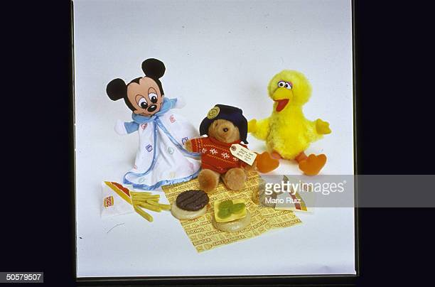 Hazardous toys for kids incl flammable Baby Mickey Mouse Paddington Bear Big Bird plastic Burger King food set which looks too real kids may try to...