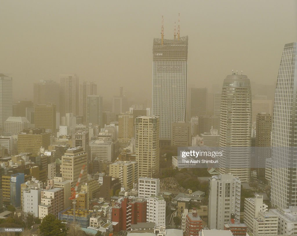 Haze covered Tokyo is seen on March 10, 2013 in Tokyo, Japan. Strong Northern wild by the cold front blow up dust and cover Japan's capital.