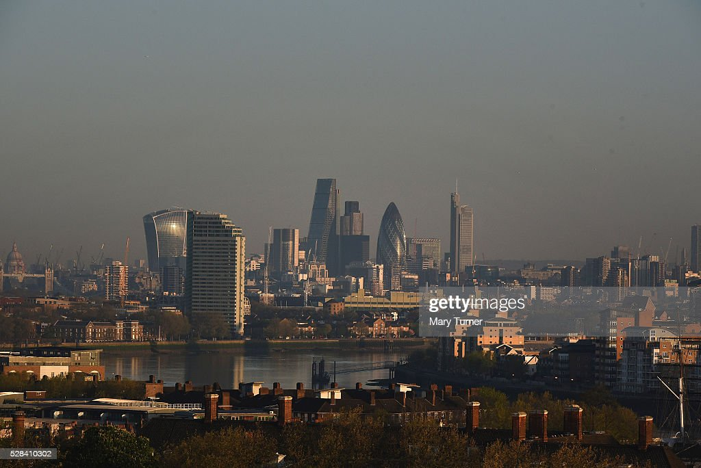 A haze of air pollution hangs over the London skyline in the early hours of the morning as London goes to the polls in its Mayoral elections, with all the major candidates campaigning heavily on environmental issue, on May 5, 2016 in London, England. Three quarters of Londoners are said to believe that air pollution is a major factor and responsibility for the capital city's incoming mayor to deal with. The main candidates for the position in 2016 are Sadiq Khan, Labour, Zac Goldsmith , Conservative, Sian Berry, Green, Caroline Pidgeon, Liberal Democrat, George Galloway, Respect, Peter Whittle, UKIP and Sophie Walker, Woman's Equality Party. Results will be declared on Friday 6th May.