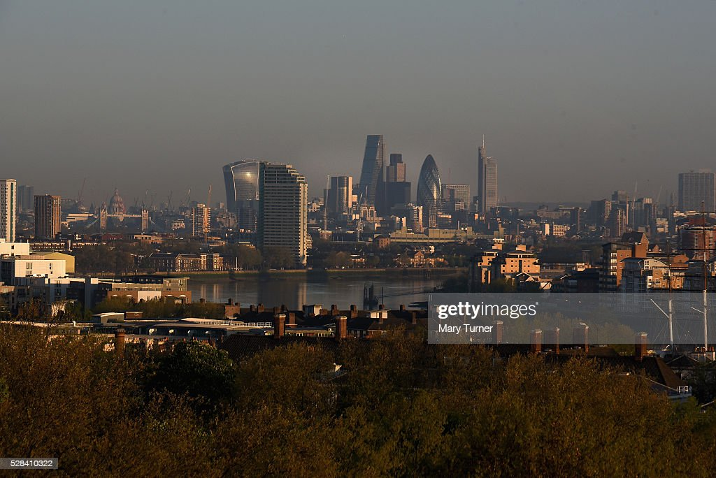 A haze of air pollution hangs over the London skyline in the early hours of the morning as London goes to the polls in its Mayoral elections, with all the major candidates campaigning heavily on the environmental issue, on May 5, 2016 in London, England. Three quarters of Londoners are said to believe that air pollution is a major factor and responsibility for the capital city's incoming mayor to deal with. The main candidates for the position in 2016 are Sadiq Khan, Labour, Zac Goldsmith , Conservative, Sian Berry, Green, Caroline Pidgeon, Liberal Democrat, George Galloway, Respect, Peter Whittle, UKIP and Sophie Walker, Woman's Equality Party. Results will be declared on Friday 6th May.