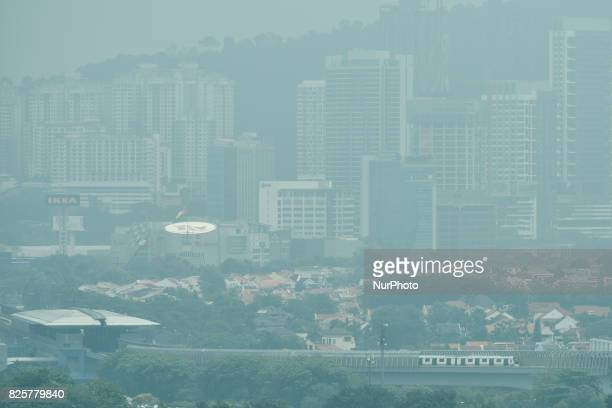 Haze seen in Kuala Lumpur Malaysia on August 03 2017 Malaysia it is ready to render assistance to extinguish forest fires in Indonesia to check any...