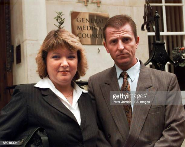 Hazel and Michael Woolger at the General Medical Council in London to the sentencing of anaesthetist Dr John EvansAppiah by the Council Dr...