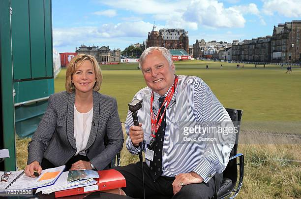 Hazel Irvine of Scotland and Peter Alliss of England the BBC Golf commentators during the third round of the Ricoh Women's British Open at the Old...
