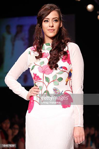 Hazel Keech showcases designs by Purvi Doshi on the runway during day four of Lakme Fashion Week Summer/Resort 2013 on March 25 2013 at Grand Hyatt...