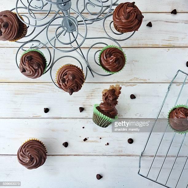 Hazelnut cupcakes on cakestand