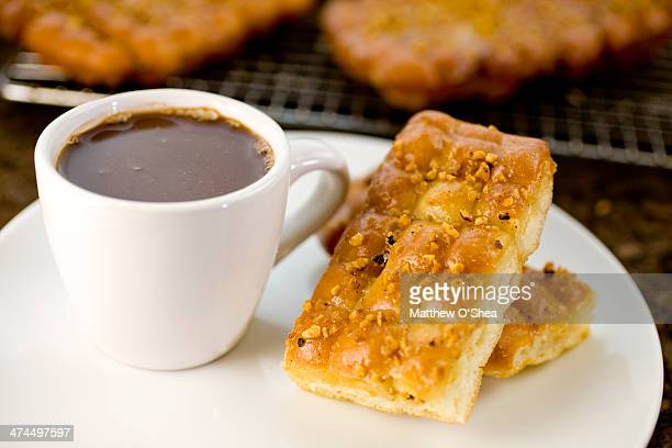 Hazelnut fritters with homemade hot Chocolate