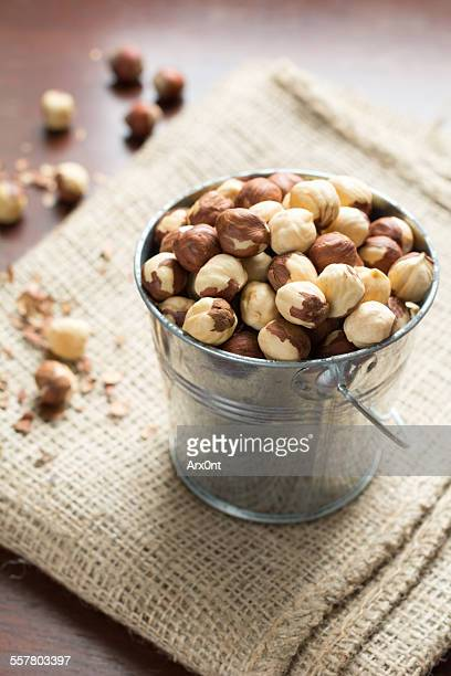 Hazelnuts in bucket