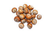 Shelled hazelnuts isolated on white background. Top view point.