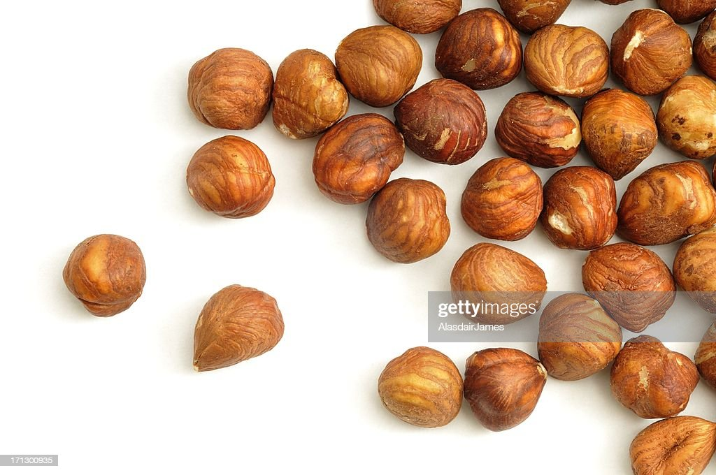 Hazelnuts shelled and scattered