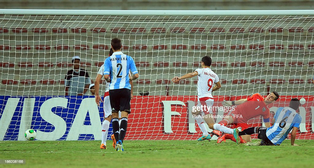 Hazem Haj Hassen of Tunisia scores their first goal during the FIFA U-17 World Cup UAE 2013 round of 16 match between Argentina and Tunisia at the Rashid Stadium on October 29, 2013 in Dubai, United Arab Emirates.