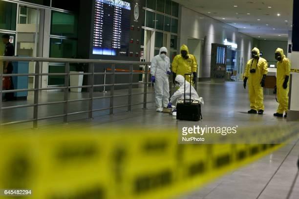 A Hazmat team conducts checks inside Kuala Lumpur Internatinal Airport 2 airport terminal at Sepang Malaysia 26 February 2017 Malaysian police order...