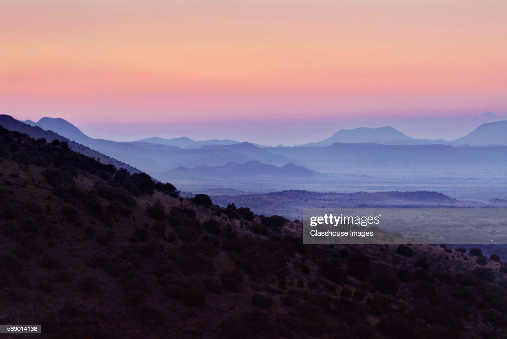 Hazy Mountains at Sunset, West Texas, USA