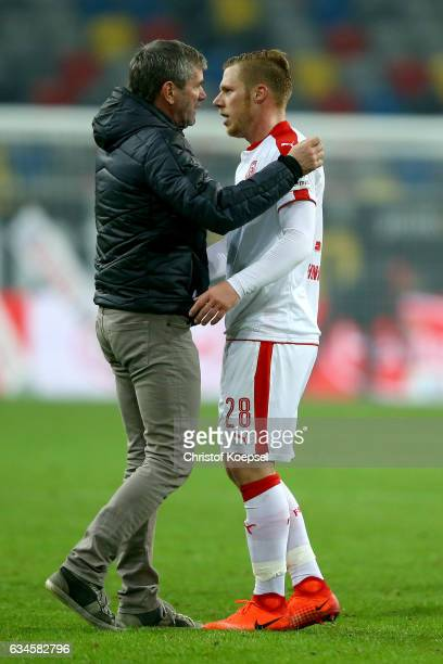hc Friedhelm Funkel comforts Rouwen Hennings of Duesseldorf after the Second Bundesliga match between Fortuna Duesseldorf and 1 FC Kaiserslautern at...