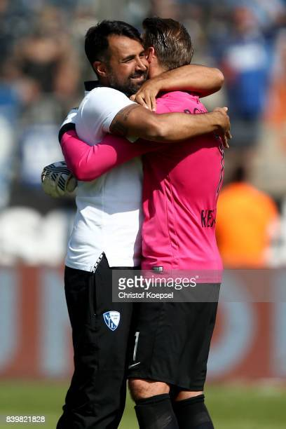 hc Ismail Atalan of Bochum celebrates with Manuel Riemann of Bochum after winning 32 the Second Bundesliga match between VfL Bochum 1848 and SG...