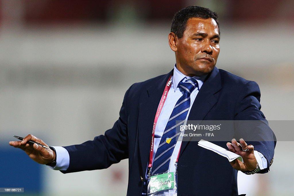 hc Jose Valladares of Honduras reacts during the FIFA U-17 World Cup UAE 2013 Round of 16 match between Honduras and Uzbekistan at Sharjah Stadium on October 28, 2013 in Sharjah, United Arab Emirates.