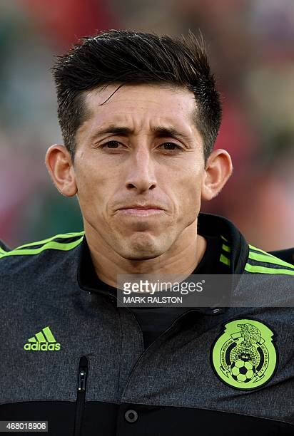 Héctor Herrera of Mexico during the friendly football match Mexico vs Ecuador at the LA Memorial Coliseum in Los Angeles on March 28 2015 Mexico went...