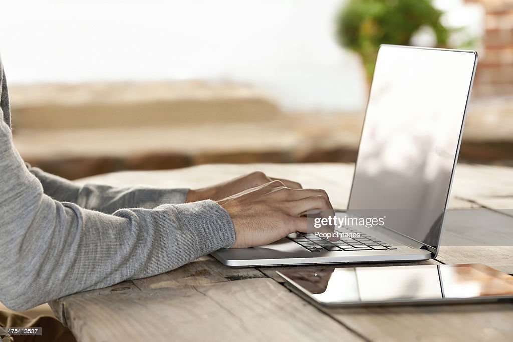 He doesn't have to go far for instant access... : Stock Photo