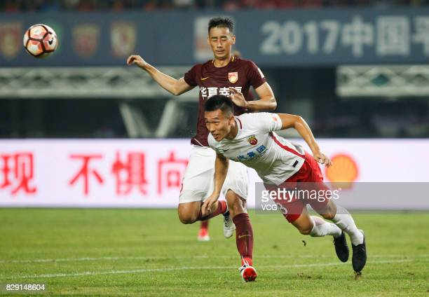 He Guan of Shanghai SIPG follows the ball during the 21st round match of 2017 China Super League between Hebei China Fortune FC and Shanghai SIPG FC...