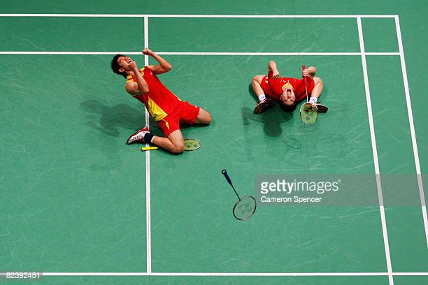 He Hanbin and Yu Yang of China celebrate winning the bronze medal after the Mixed Doubles Bronze Medal Match against Flandy Limpele and Vita Marissa...