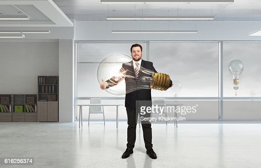 He is carrying out an idea . Mixed media : Foto de stock