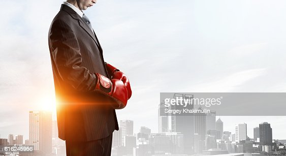He is determined to win . Mixed media : Stock Photo