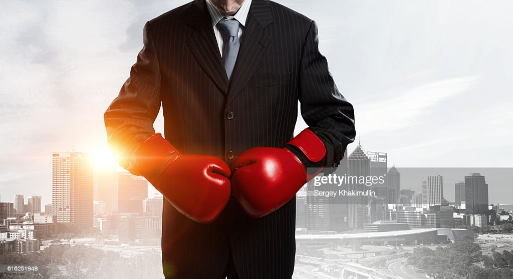 He is determined to win . Mixed media : Foto de stock