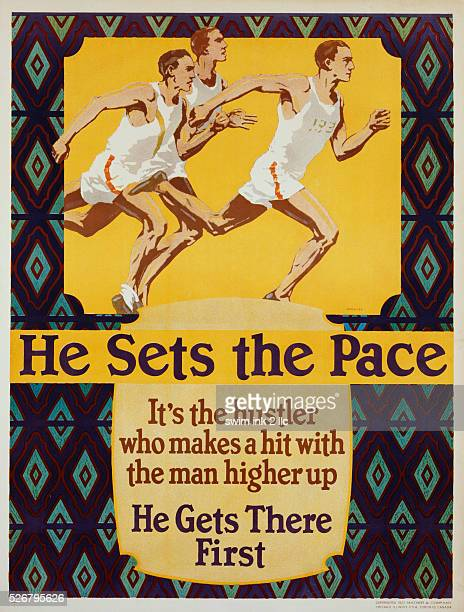 He Sets the Pace Labor Morale Poster by Willard Fredric Elmes