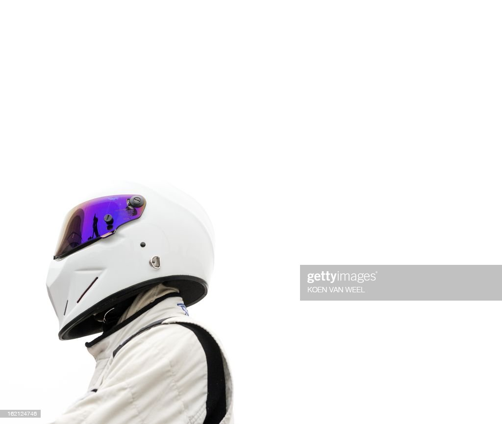 he Stig, character of the British television show Top Gear, poses at the racing circuit in Zandvoort on February 19, 2013 for a foretaste of the Top Gear Live event in the Amsterdam Ziggo Dome scheduled for April 27, 2013. AFP PHOTO / ANP - KOEN VAN WEEL = netherlands out