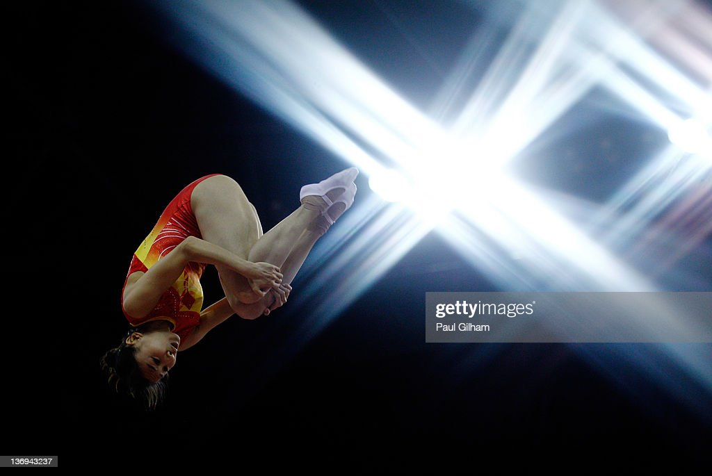 He Wenna of China in action during the Gymnastics Trampoline Olympic Qualification round at North Greenwich Arena on January 13, 2012 in London, England.