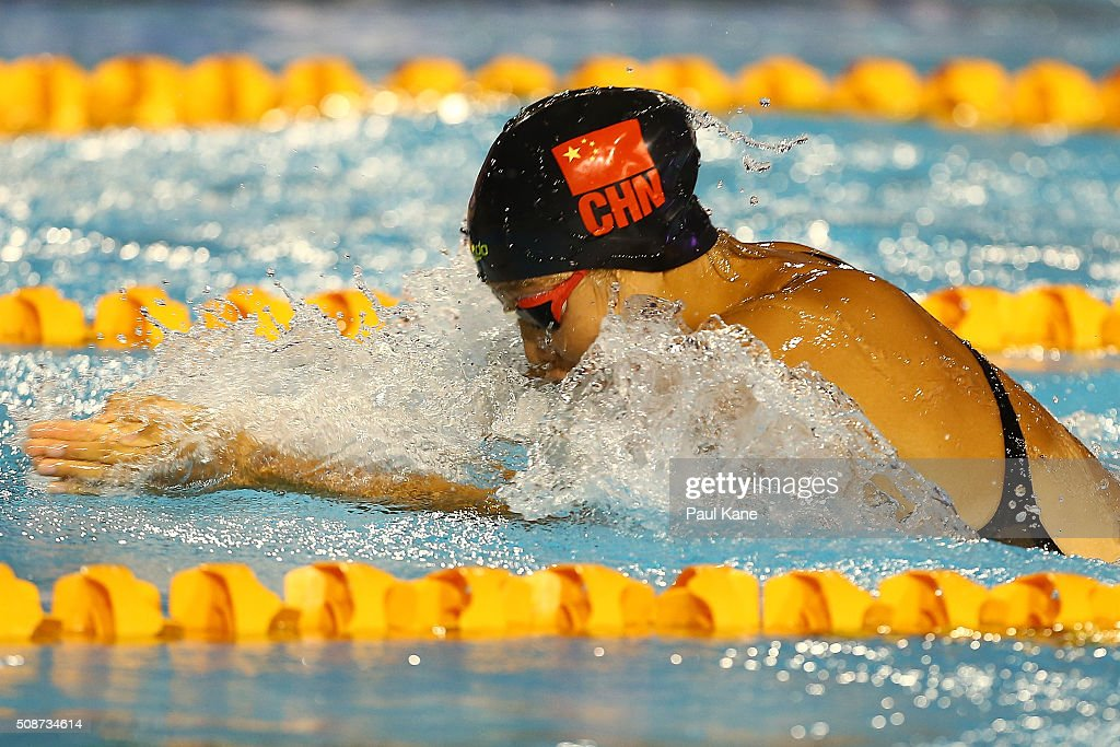 He Yun of China competes in the Women's 4x50 Metre Medley Relay during the 2016 Aquatic Superseries at HBF Stadium on February 6, 2016 in Perth, Australia.