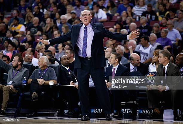 Heac coach George Karl of the Sacramento Kings complains about a call during their game against the Los Angeles Lakers at Sleep Train Arena on...