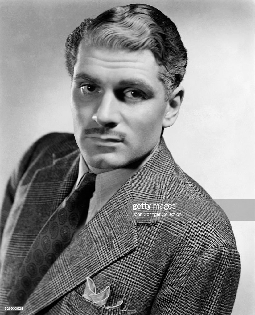 Head and shoulder portrait photo of English actor Sir Laurence Olivier (1907-89). Undated photograph.