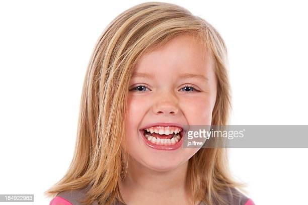 Kopf und Schultern von Lachen Blondes Mädchen auf Weiß