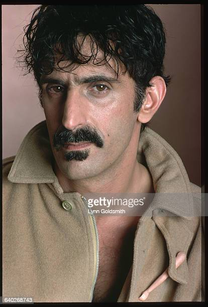 Head and shoulders photograph of avantgarde musician composer Frank Zappa Undated