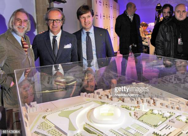 Head Architect of the project Alberto Rolla coowner of the ACF Fiorentina Andrea Della Valle and Mayor of Florence Dario Nardella pose for a photo in...