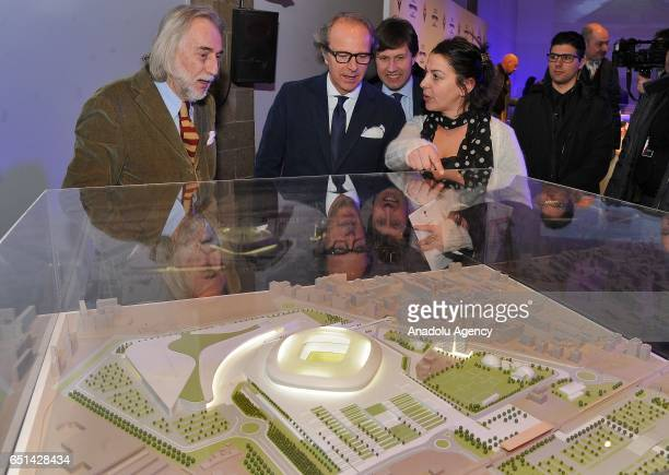 Head Architect of the project Alberto Rolla coowner of the ACF Fiorentina Andrea Della Valle and Mayor of Florence Dario Nardella are seen in front...