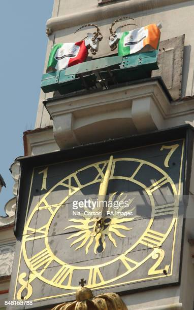 A head butting goat mechanism on the Town hall Clock tower in Poznan ahead of the UEFA Euro 2012 Group match at the Municipal Stadium Poznan Poland