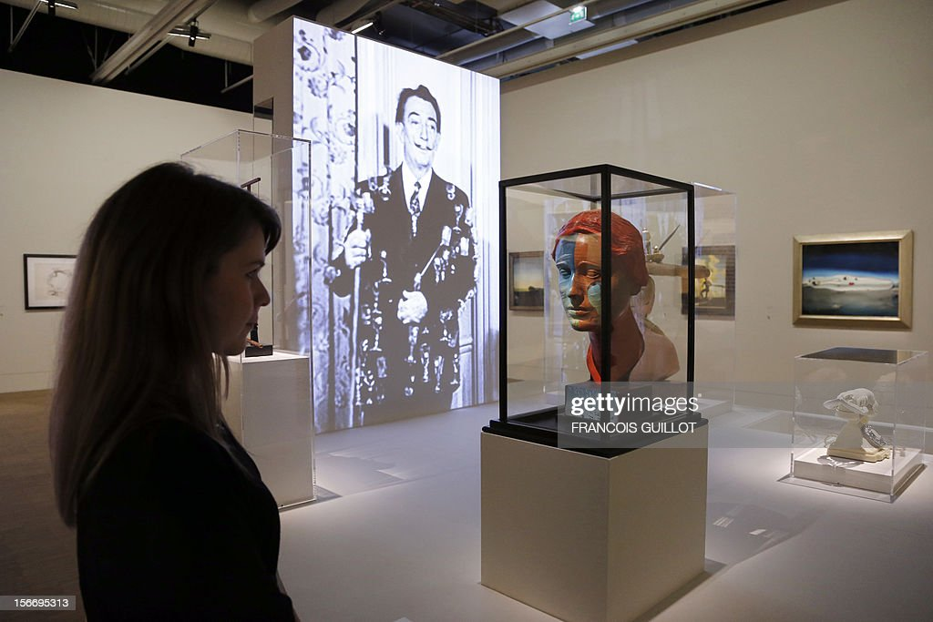 A head by surrealist artists Spanish Salvador Dali and US Man Ray is displayed during an exhibition devoted to his work at the Centre Pompidou contopary art center (aka Beaubourg) on November 19, 2012 in Paris. More than 30 years after the first retrospective in 1979, the event gathers more than 200 art pieces and runs until March 13, 2013.