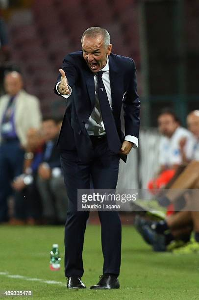 Head caoch of Lazio Stefano Pioli gestures during the Serie A match between SSC Napoli and SS Lazio at Stadio San Paolo on September 20 2015 in...