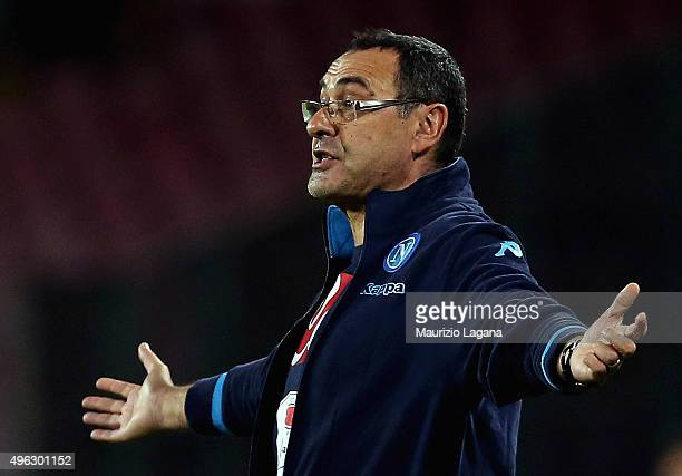 Head caoch of Napoli Maurizio Sarri gestures during the Serie A match between SSC Napoli and Udinese Calcio at Stadio San Paolo on November 8 2015 in...