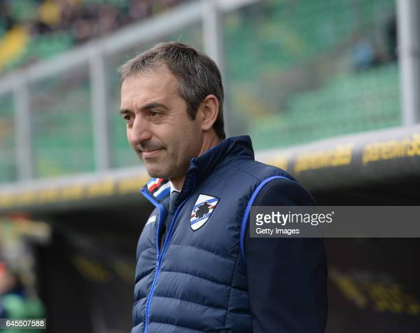 Head caoch of Sampdoria Marco Giampaolo prior the Serie A match between US Citta di Palermo and UC Sampdoria at Stadio Renzo Barbera on February 26...