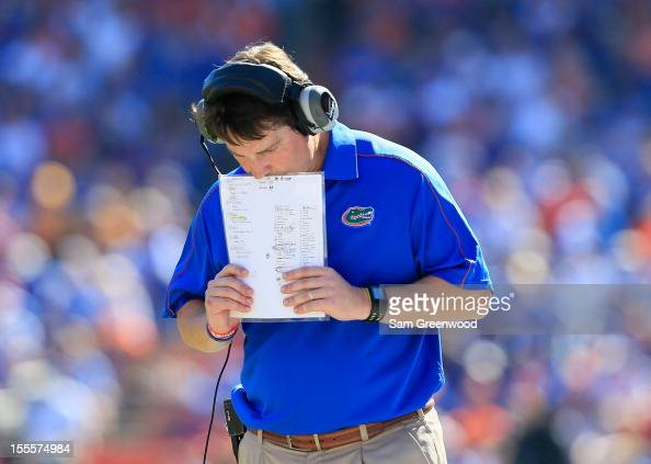 Head caoch of the Florida Gators Will Muschamp is seen on the sidelines during the game against the Missouri Tigers at Ben Hill Griffin Stadium on...