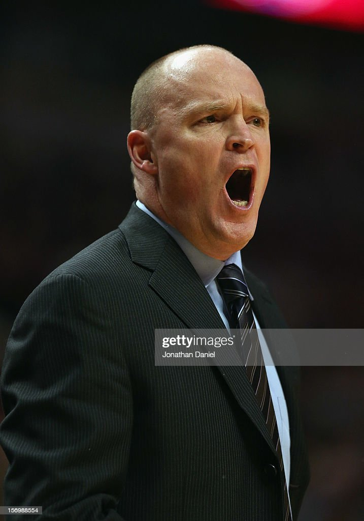 Head caoch Scott Skiles of the Milwaukee Bucks yells instructions to his team during a game against the Chicago Bulls at the United Center on November 26, 2012 in Chicago, Illinois. The Bucks defeated the Bulls 93-92.