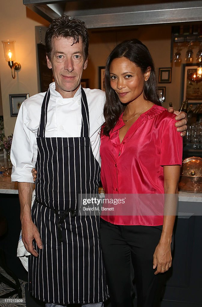 Head Chef and Owner Mark Gautier and <a gi-track='captionPersonalityLinkClicked' href=/galleries/search?phrase=Thandie+Newton&family=editorial&specificpeople=210812 ng-click='$event.stopPropagation()'>Thandie Newton</a> (R) attend the launch party of Madame Gautier on August 22, 2013 in London, England.