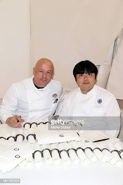 Head chef of the 'Mandarin Oriental' Thierry Marx and Hagi attend a lunch organised by the 'Club des Chefs des Chefs' in honor of the Japanese Head...