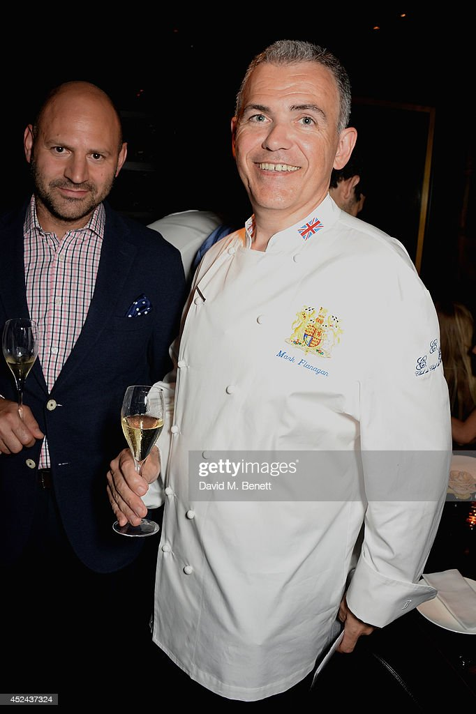 Head Chef to the UK Royal household Mark Flanagan (R) and Farhad Heydari (L) attend Le Club des Chefs des Chefs dinner at Hakkasan Hanway Place on July 20, 2014 in London, England.