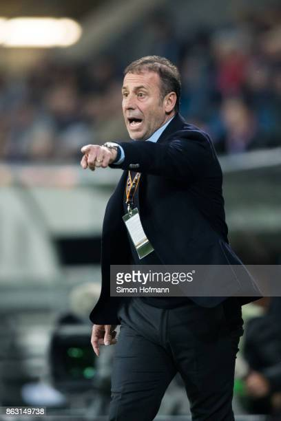 Head coach Abdullah Avci of Istanbul reacts during the UEFA Europa League group C match between 1899 Hoffenheim and Istanbul Basaksehir FK at Wirsol...