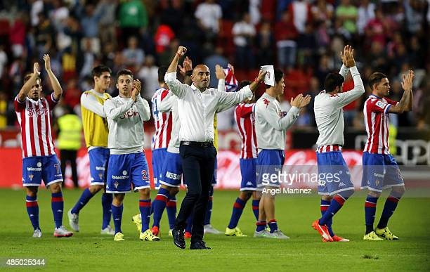 Head coach Abelardo Fernandez of Sporting Gijon celebrates after the La Liga match between Sporting Gijon and Real Madrid CF at Estadio El Molinon on...