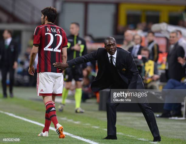 Head coach AC Milan Clarence Seedorf and Kaka during the Serie A match between AC Milan and US Sassuolo Calcio at San Siro Stadium on May 18 2014 in...